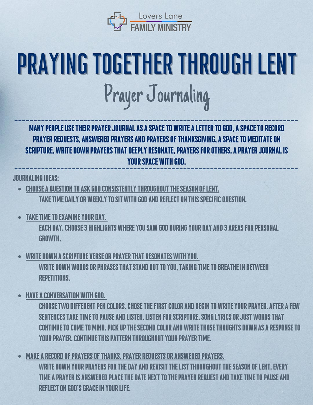 Prayer Journaling prompts